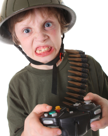 angry boy with video game controller